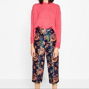 Zara Asian floral crop pants NWOT